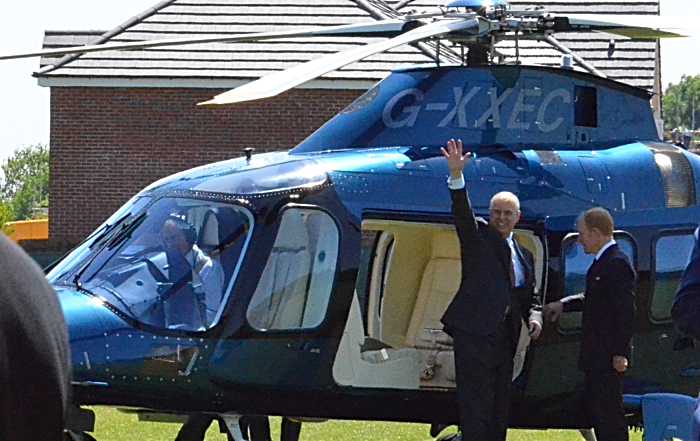 Duke of York waves as he is about to board his helicopter
