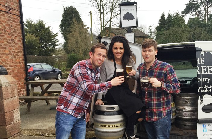 Easter Beer Hunt - Yew Tree landlord Jon Cox (left) returns from a beer hunt to raise a glass to the Easter Beer Festival with b