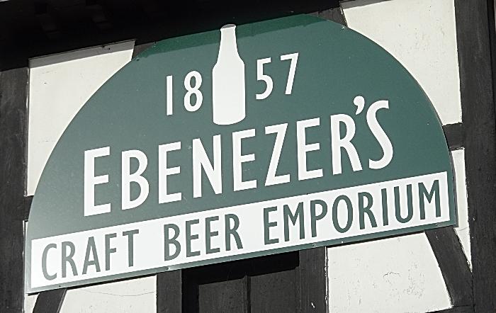 Ebenezer's Craft Beer & Gin - sign on front of premises (1)