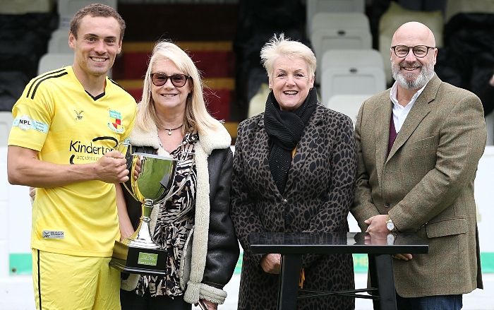Eddie Morris Memorial Trophy 2020 - presentation - Dabbers captain Joel Stair with Janet Crowe, Gail Smith and John Morris