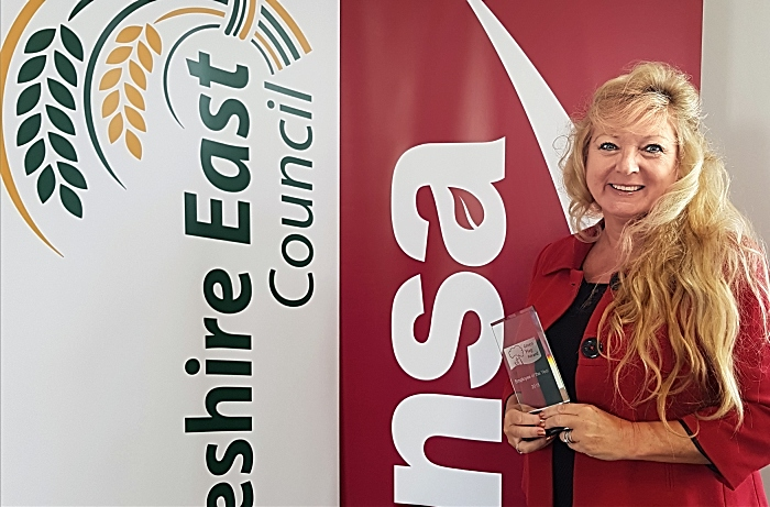 Elaine Webster with Green Flag award