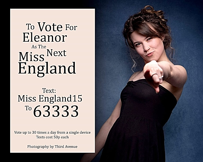 Eleanor Farr Miss England vote poster
