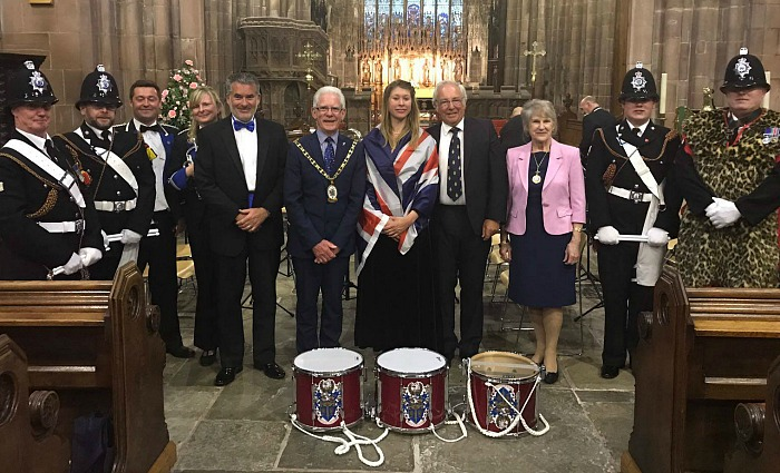 Midsummer Musical - Emma Brown and members of The Band & Drums of the Cheshire Constabulary of The Band and dignitaries