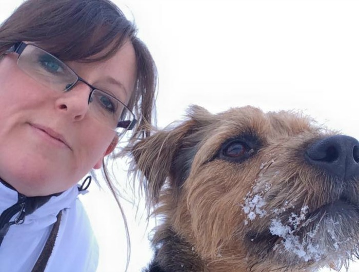 Emma Husband and rescue dog Timo