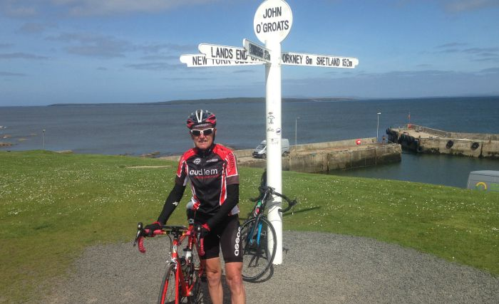 cyclist Eric Wilkinson at John O'Groats
