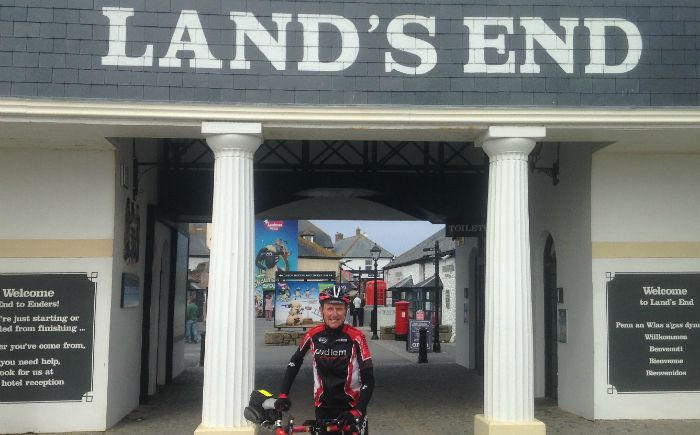 cyclist Eric Wilkinson at Land's End