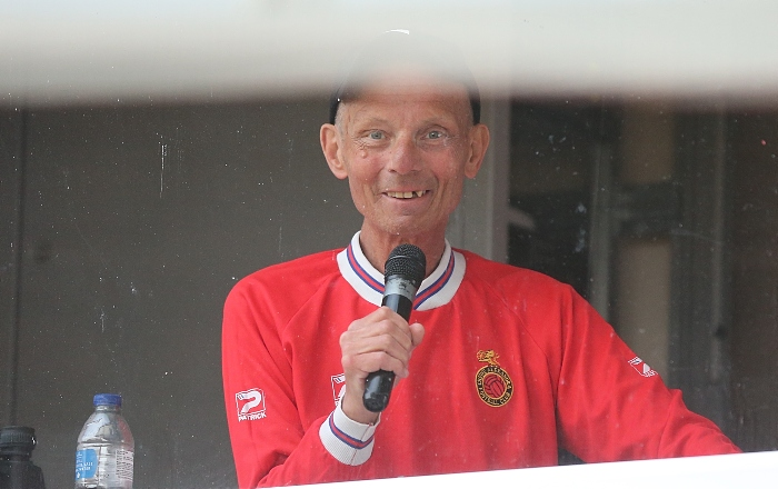 Event organiser and Crewe Alex FC stadium announcer Andrew Scoffin prepares to annouce the scorers in his booth (1)