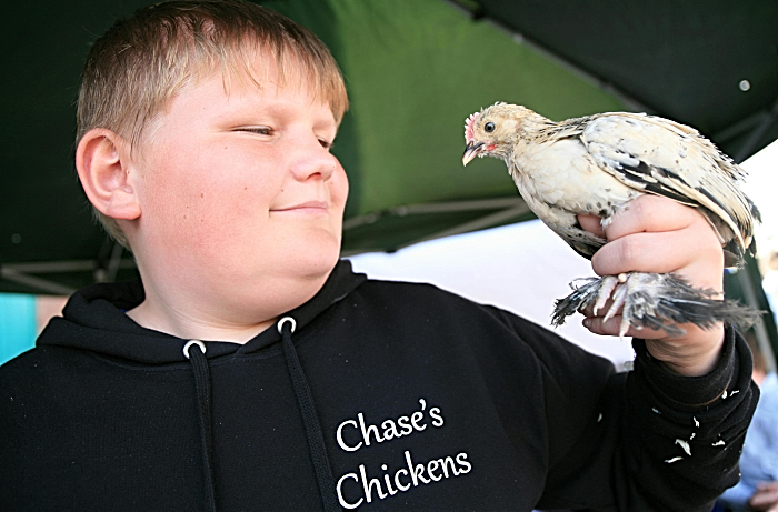 Exhibitor Chase Lloyd, 14, with booted bantam (1)