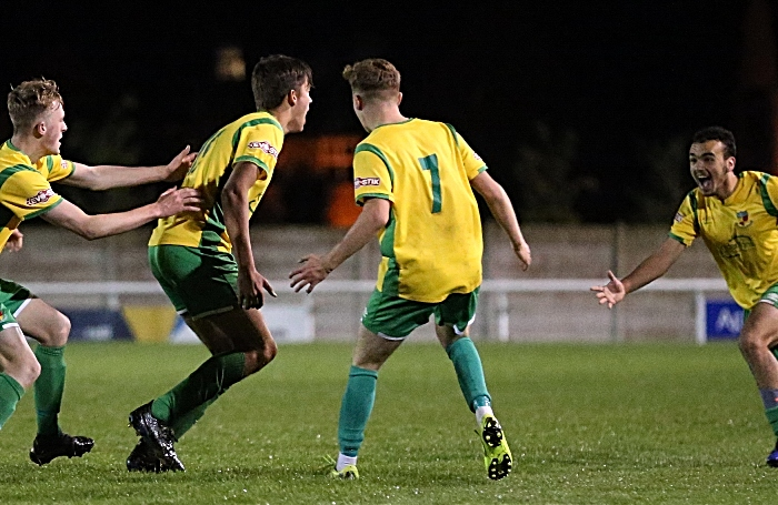 Extra-time 2 - sixth Nantwich goal - Josh Wrench celebrates with teammates (1)