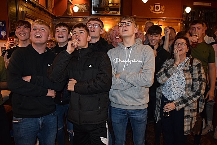 FA Cup first round draw Mon 21-10-19 - Nantwich Town fans watch a TV and await the draw in eager anticipation (1)
