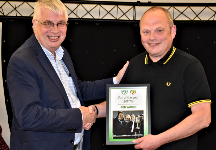 Fan of the year 2017-18 - Nantwich Town Chairman Tony Davison - left - presents award to Rob Woods