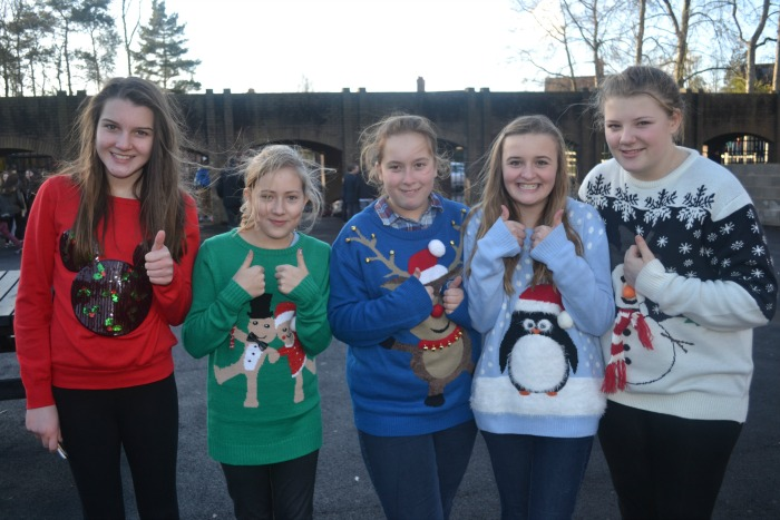 Felicity, Claudia, Holly, Annabel, Maddie in their jumpers