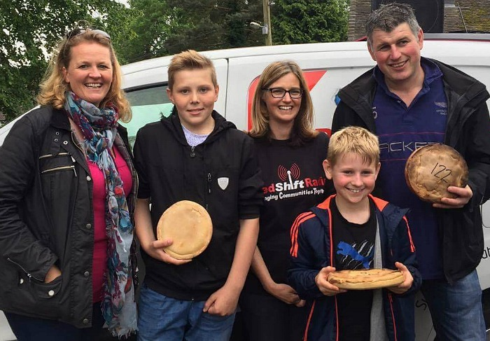 Fig pie race winners with Liz Southall and Kelly-Ann Davies from RedShift Radio