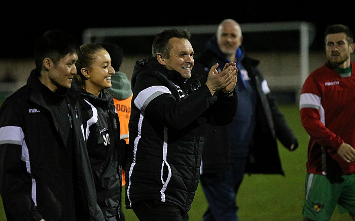 Final whistle - Manager Dave Cooke applauds the Dabbers fans