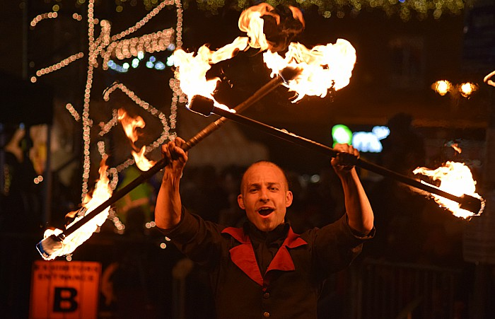 Fire performer, switch on