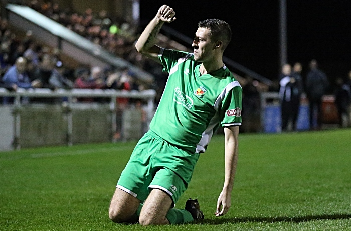 First Nantwich Town goal against Marine - Craig Lindfield celebrates his goal (1)