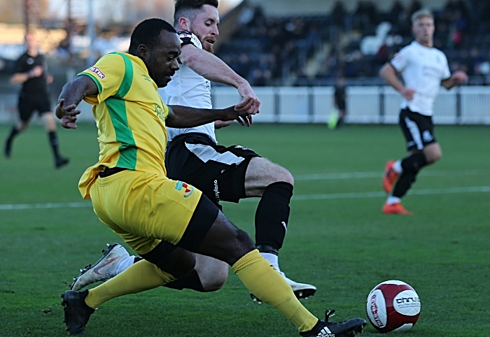 First Nantwich Town goal - Joe Mwasile crosses the ball under pressure for Sean Cooke to score (1)