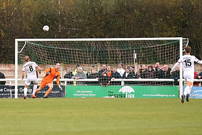 First-half - AFC Fylde goal - scuffed shot by Ryan Croasdale hits the crossbar then spins into the Dabbers goal (1)