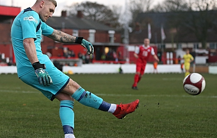 First-half - Ashton United keeper Jon Worsnop clears the ball (1)