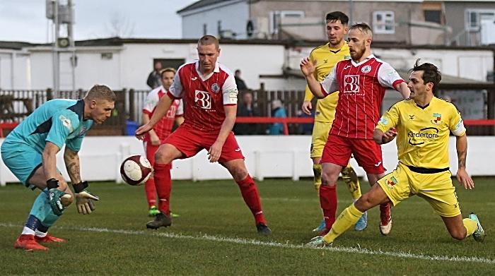 First-half - Ashton United keeper Jon Worsnop saves a shot from Caspar Hughes (1)