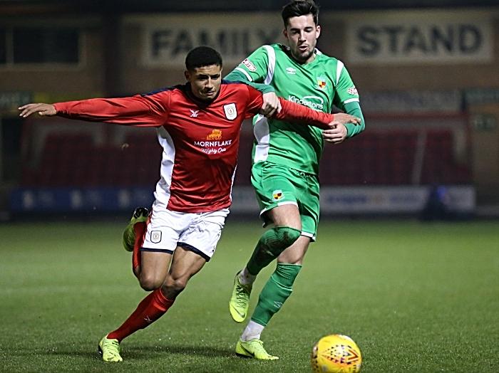 First-half - Callum Saunders eyes the ball (1)