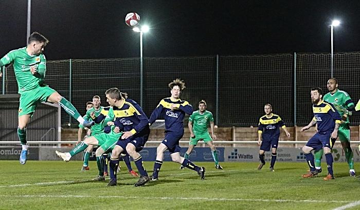 First-half - Callum Saunders header at goal (1)