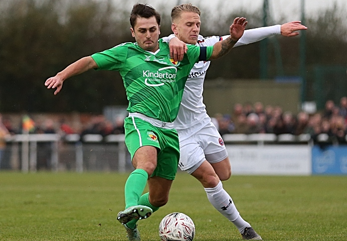 First-half - Dabbers captain Caspar Hughes fights for the ball (1)