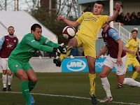 Ethon Varian puts South Shields keeper Myles Boney under pressure