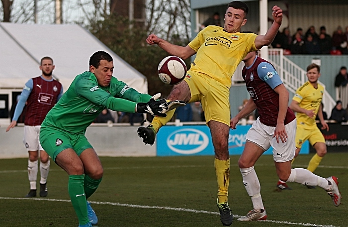 First-half - Ethon Varian puts South Shields keeper Myles Boney under pressure (1)