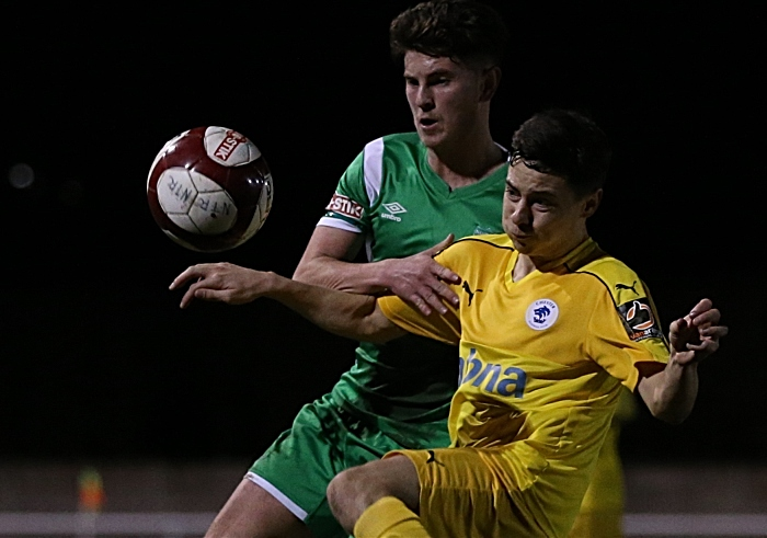 First-half - Jamie Morgan fights for the ball (1)