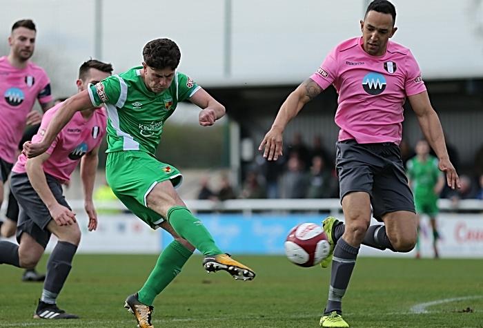 First-half - Jamie Morgan shoots at goal (1)