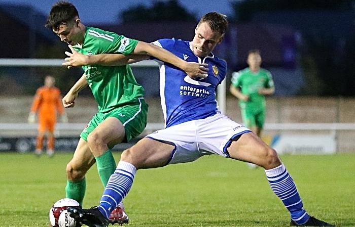 First-half - Joe Malkin fends off the attacker (1)