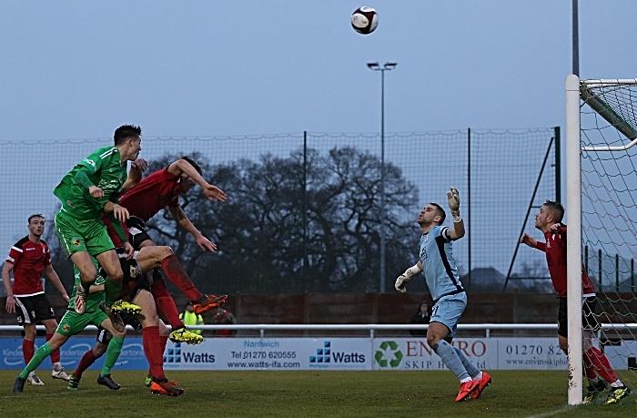 First-half - Joe Malkin rises to head at goal (1)