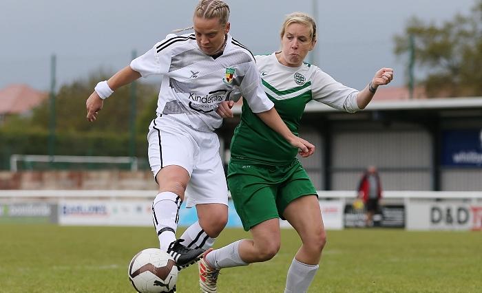 First-half - Kirsty Fisher-Sherratt controls the ball under pressure (1)