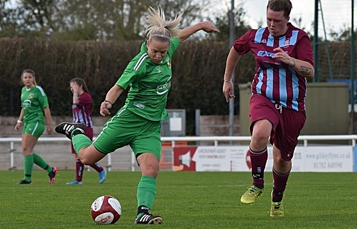 First-half - Kirsty Fisher-Sherratt prepares to shoot at goal (1)