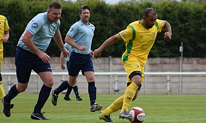 First-half - Leroy Jones on the ball for Nantwich Town Veterans (1)