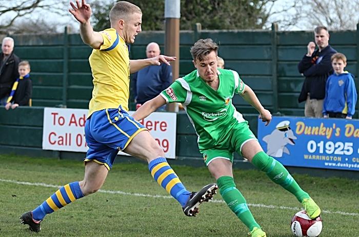 First-half - Louis Barnes controls the ball under pressure (1)