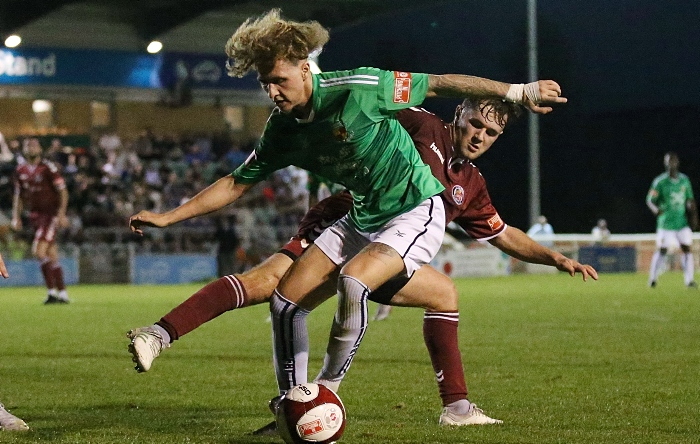 First-half - Luke Walsh on the ball under pressure from Hyde (1)