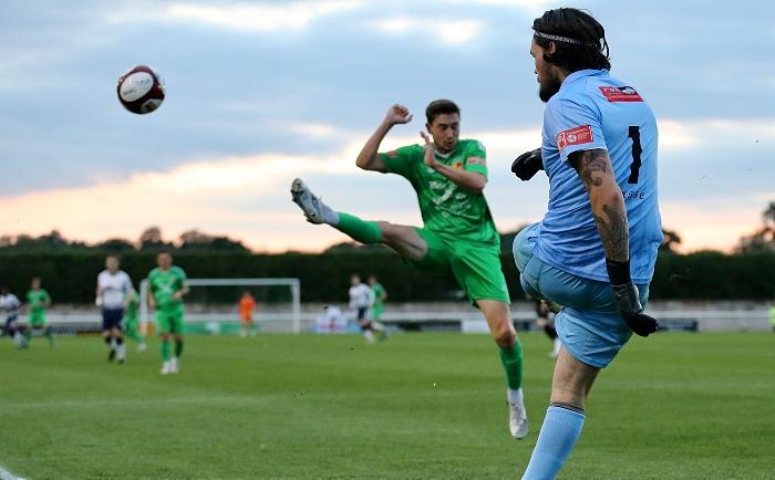 First-half - Matlock keeper Shaun Rowley clears under pressure from Shaun Miller (1)