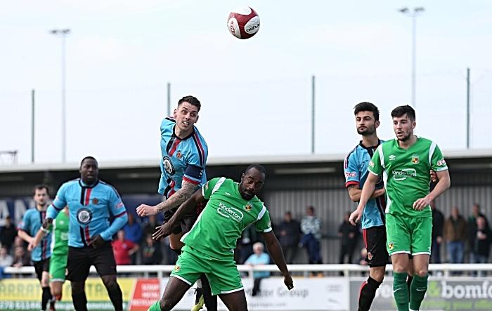 First-half - Mickleover Sports win a header (1)