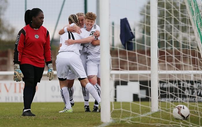 First-half - Nantwich Town Ladies celebrate a goal (1)