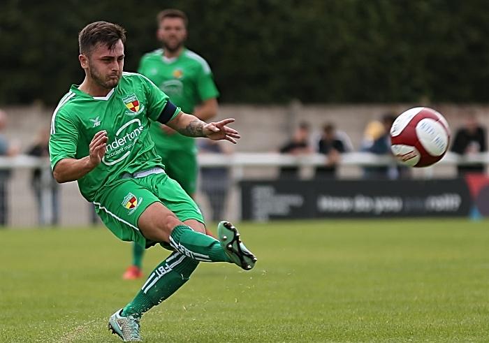 First-half - Nantwich Town captain Caspar Hughes crosses the ball (1)