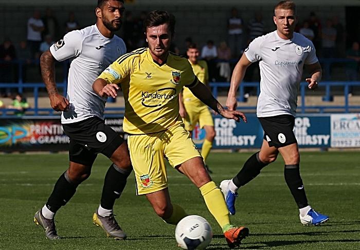 First-half - Nantwich Town captain Caspar Hughes on the ball (1)