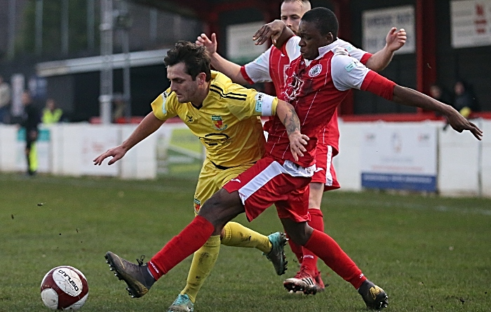First-half - Nantwich Town captain Caspar on the ball (1)