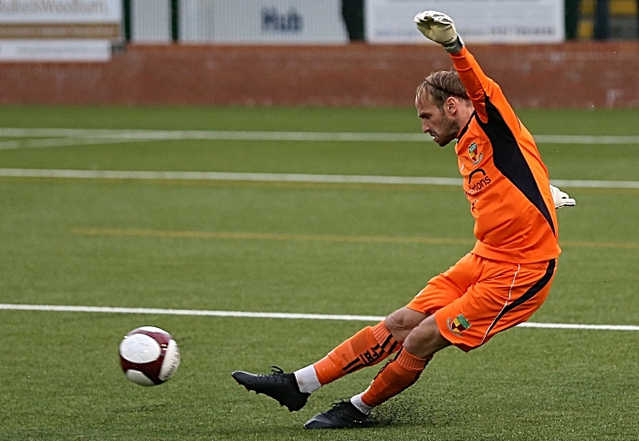 First-half - Nantwich Town keeper Greg Hall kicks the ball forward (1)