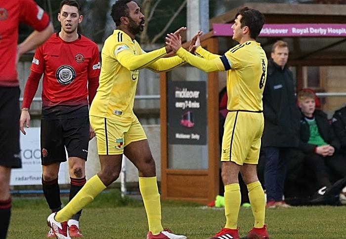 First-half - Nantwich goal - captain Caspar Hughes celebrates his goal with teammate Ricardo Fuller v Mickleover Sports