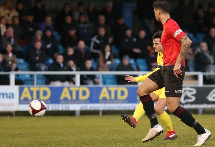 First-half - Nantwich goal - captain Caspar Hughes fires into the bottom corner v Mickleover Sports