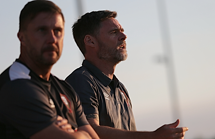 First-half - Salford City manager Graham Alexander shouts his orders (1)