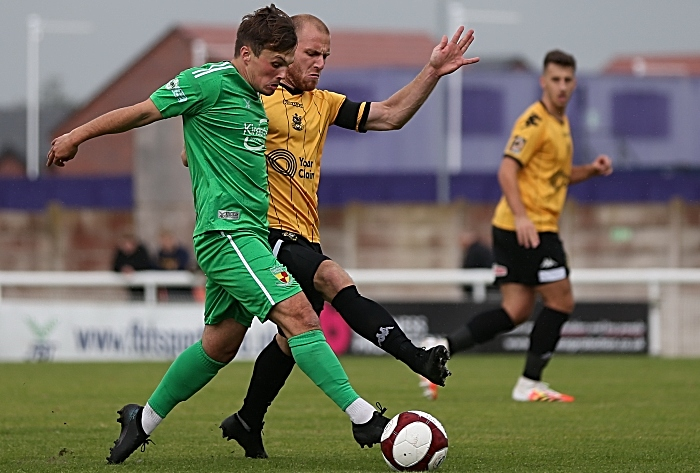 First-half - Sean Cooke on the ball under pressure from Southport (1)