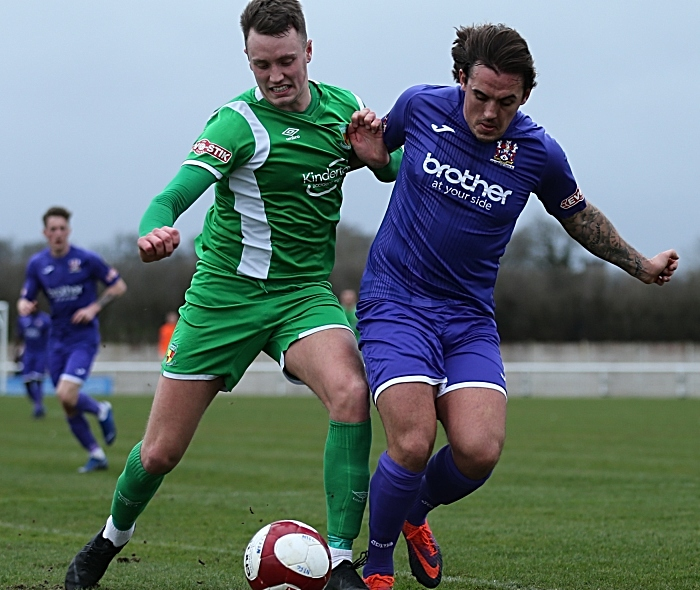 First-half - Toby Mullarkey challenges for the ball (1)